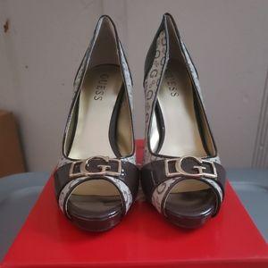 Guess peep toe high heels